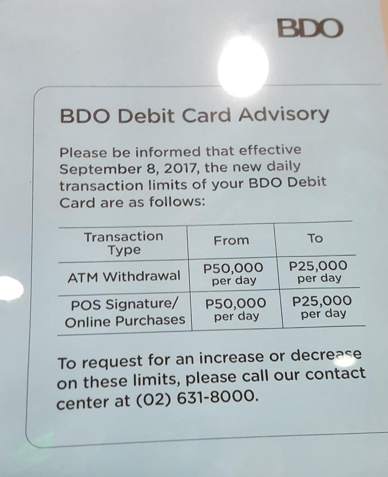bdo credit card application status pending
