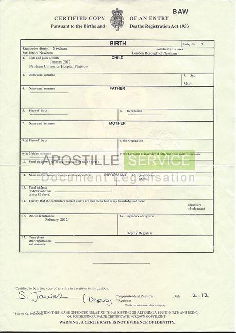 birth certificate application form uk