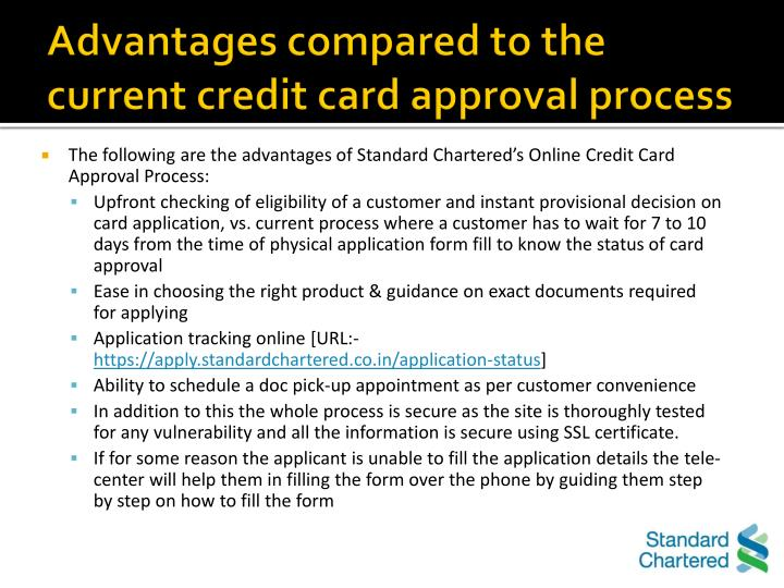 standard chartered credit card application status