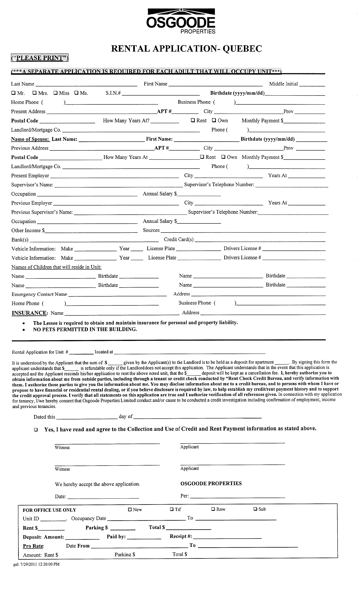 rent my property application form