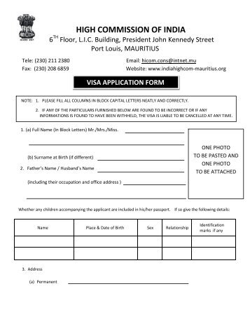 indian visa application form download