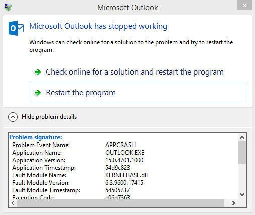 microsoft crm application outlook webforms has stopped working