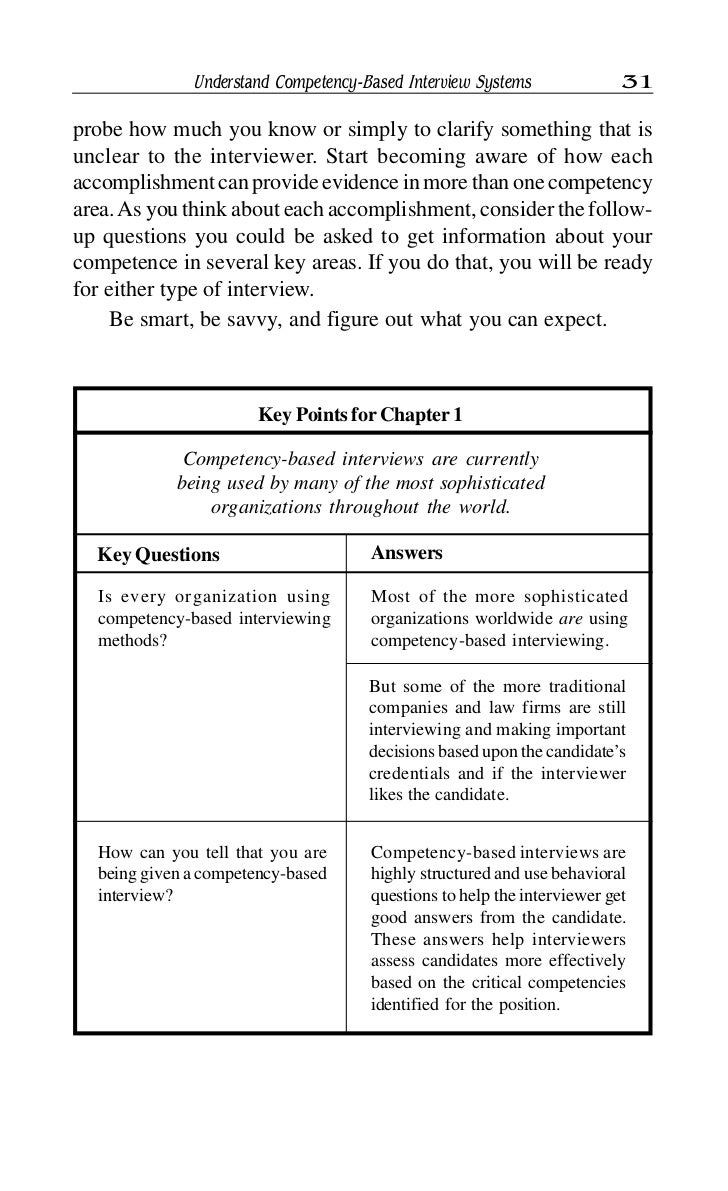 competency based application questions and answers