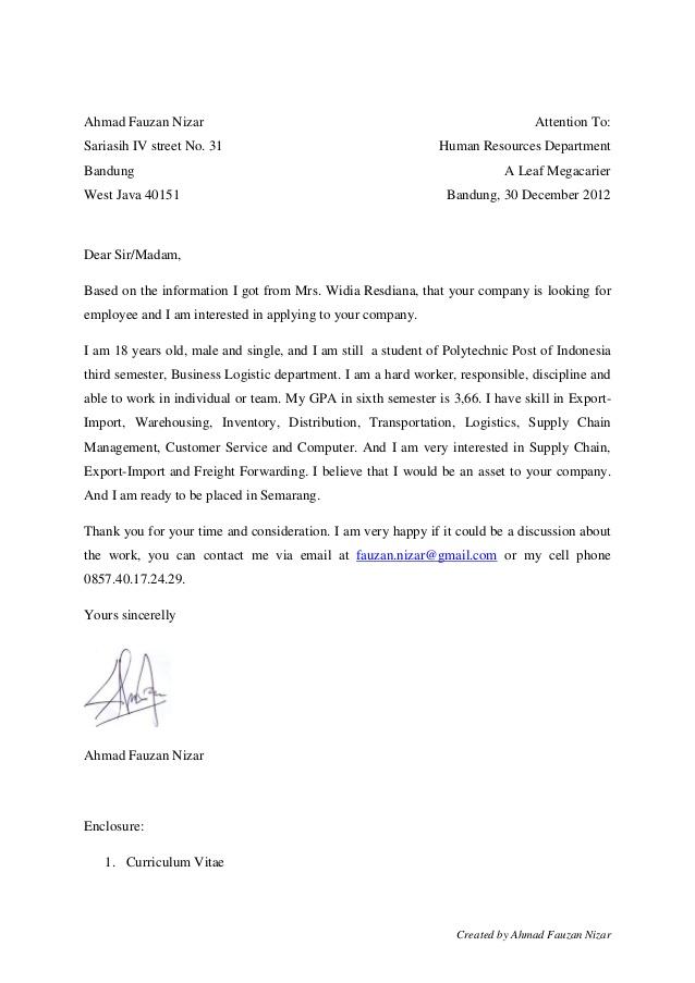 contoh application letter dan cv
