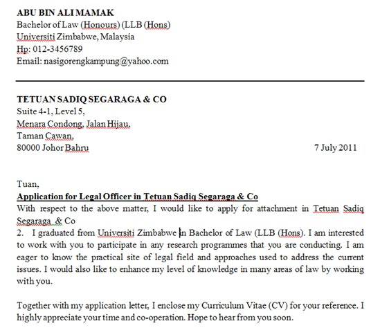 contoh application letter dan cv