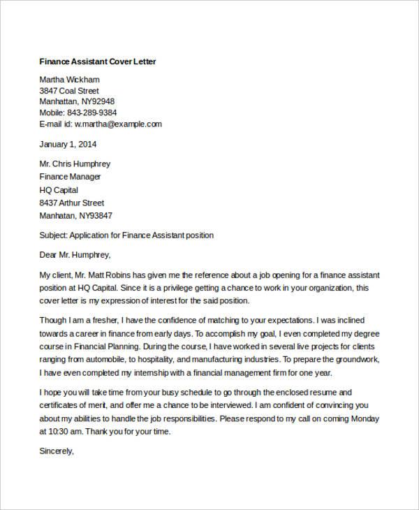cover letter for finance job application