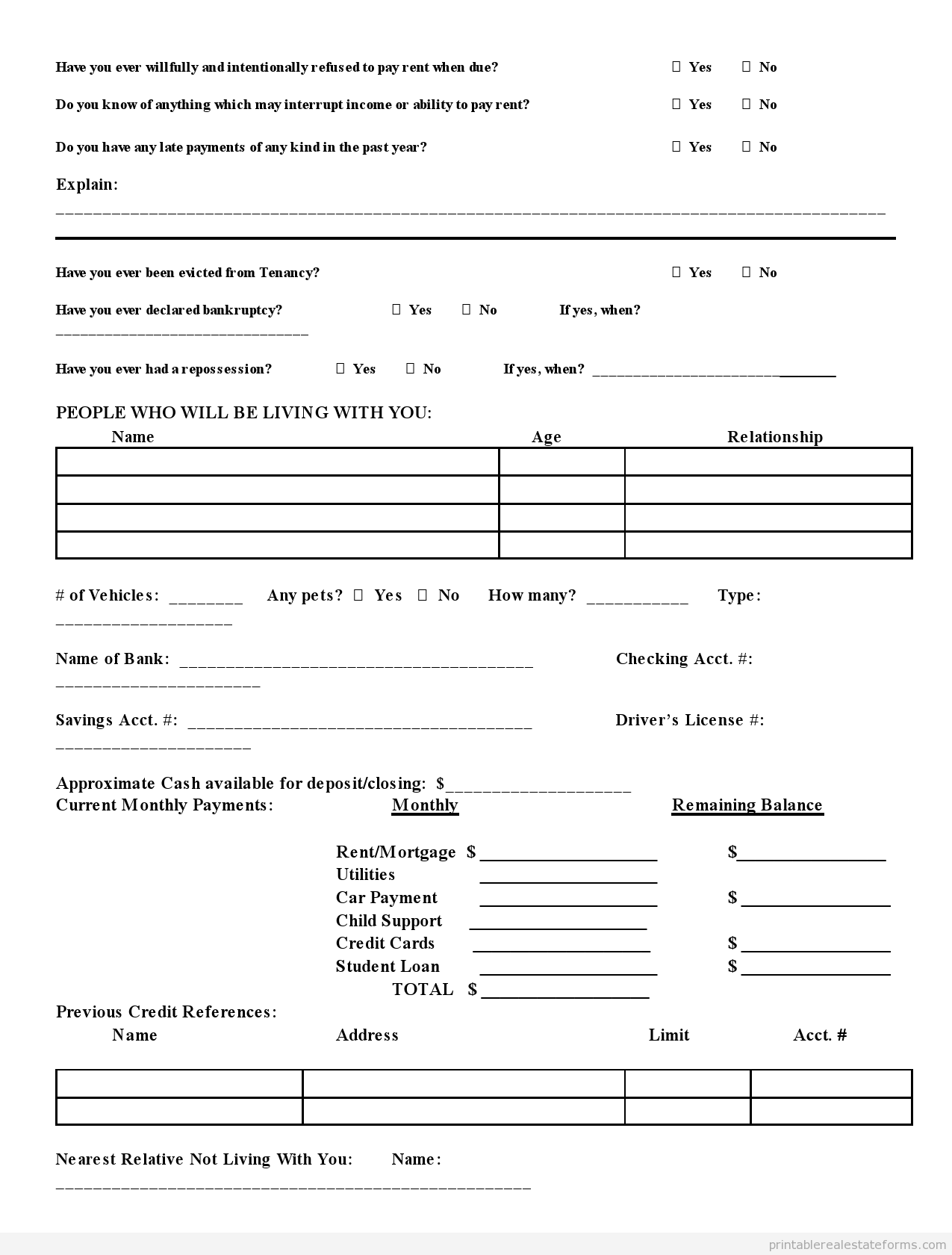 credit application form template free
