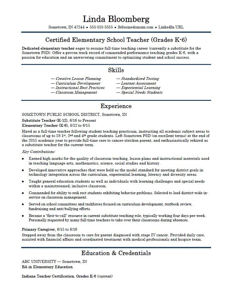 cv for teaching job application