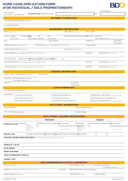 home loan online application form