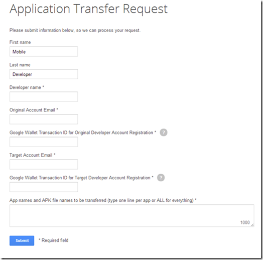 application for transfer by new owner
