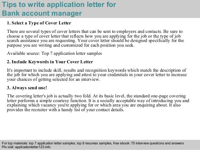 how to write an application to bank manager