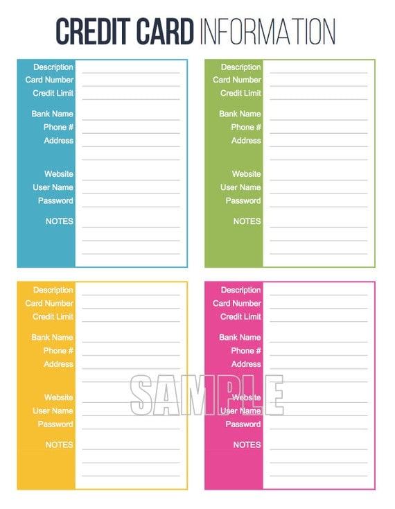 printable credit card application form