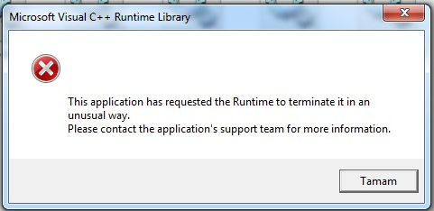 this application has requested the runtime to terminate windows 10