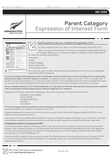 new zealand immigration application form