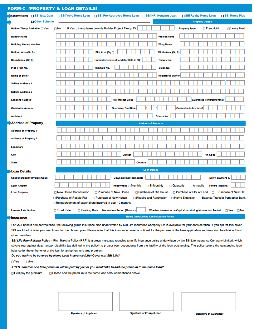 application for loan in bank