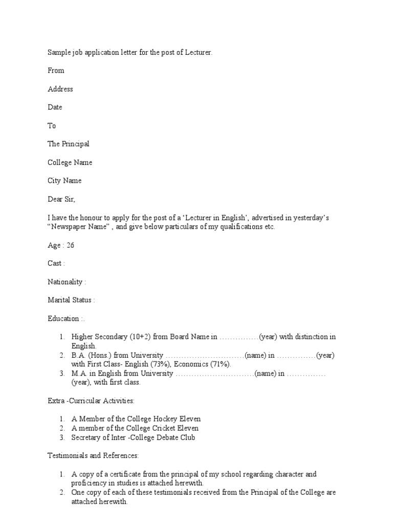 job application letter for post of principal