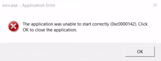 esrv exe application error 0xc0000142