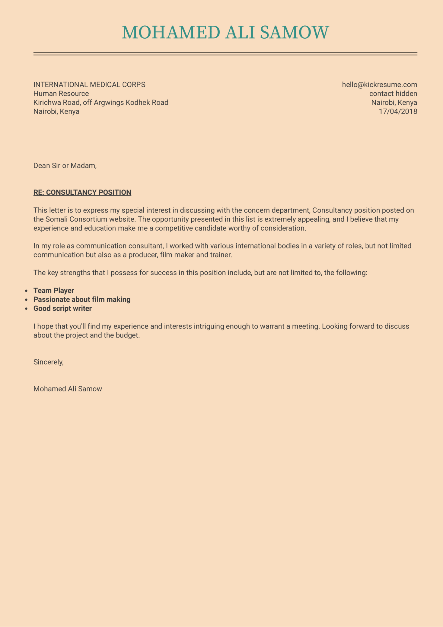 example of application letter for manager position