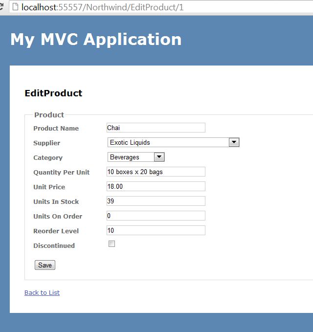 mvc sample application with entity framework