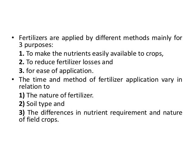time and method of fertilizer application