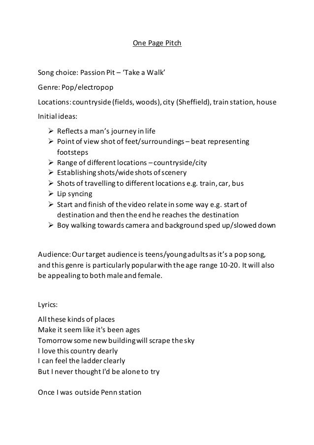 one page pitch job application
