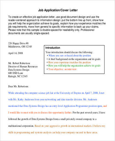 formal letter for job application