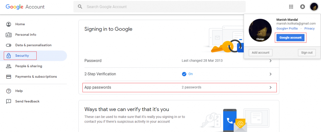 gmail create password for application