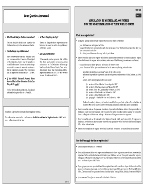 gro birth certificate application form
