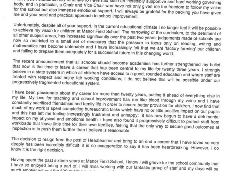 head of school application letter