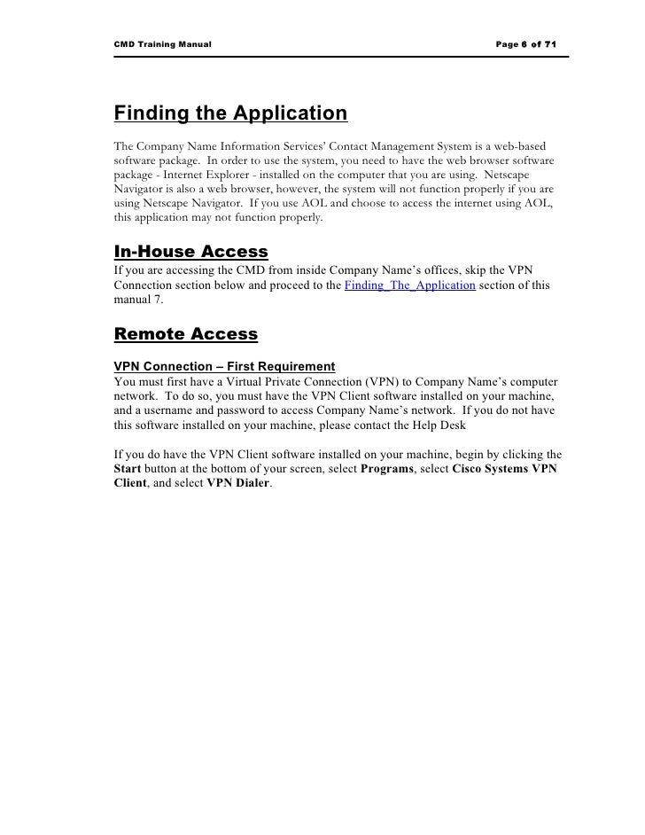how to write user manual for web application