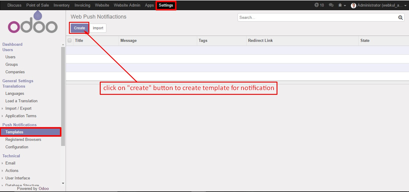 implement push notification in web application