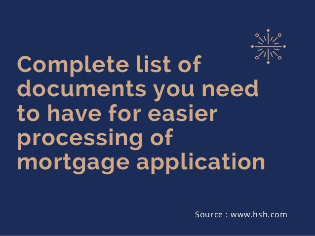 information needed for mortgage application