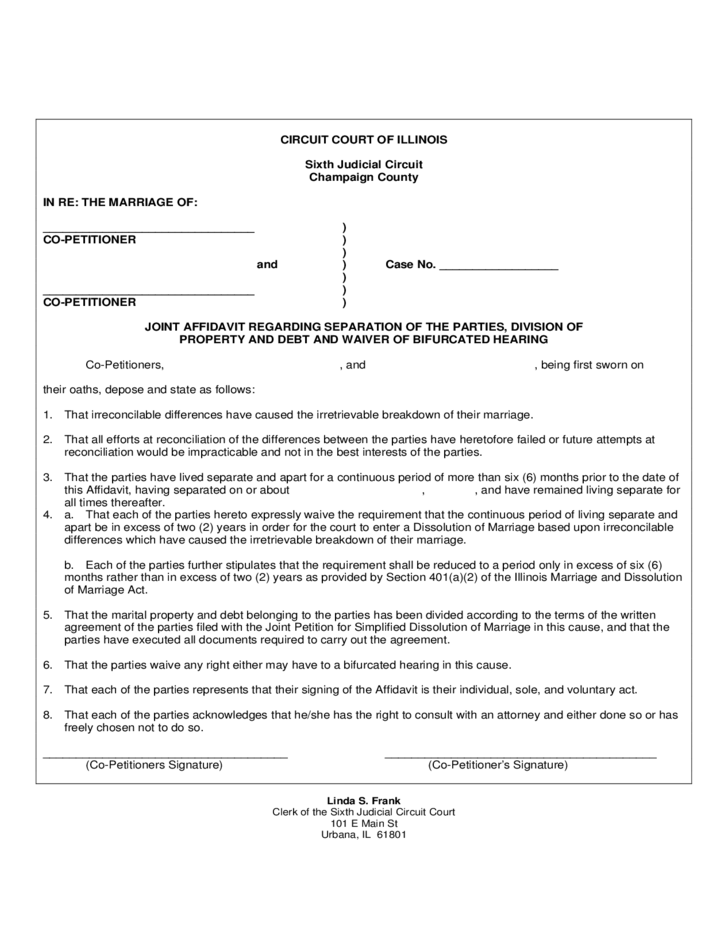 joint application for dissolution of marriage