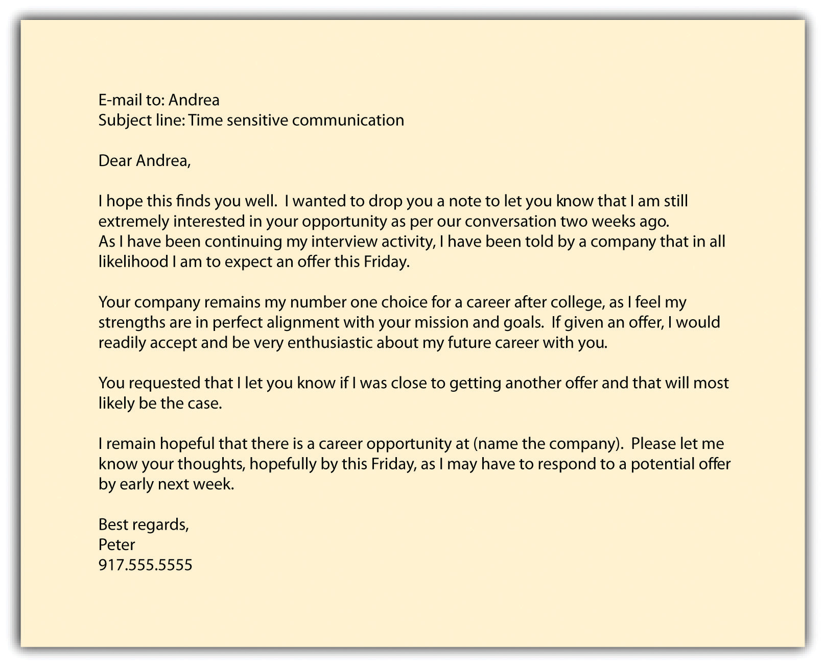 letter of offer to successful applicant
