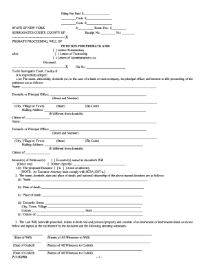 letters of administration application form