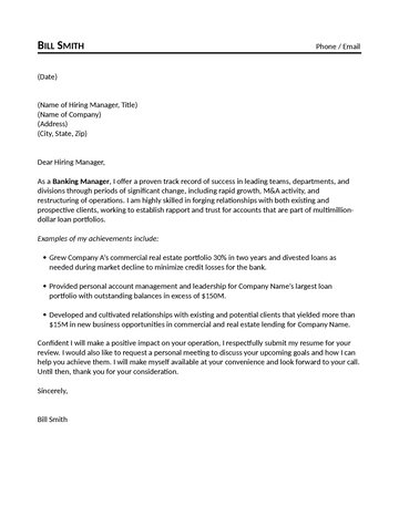 loan application letter to bank manager