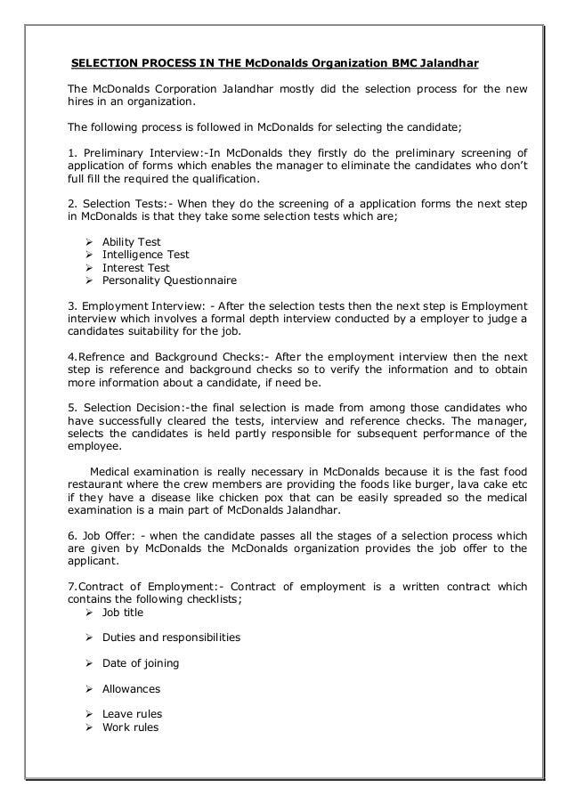 mcdonalds application online for employment