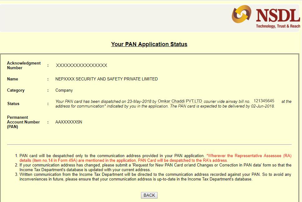 new pan card application status