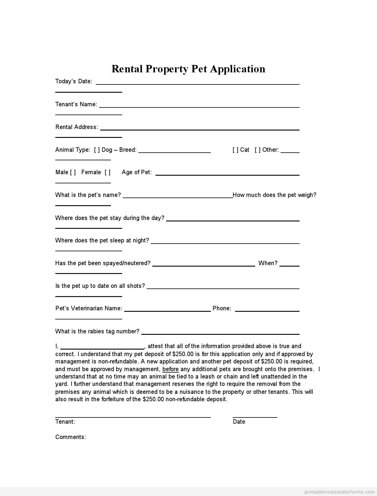 rental property application form template