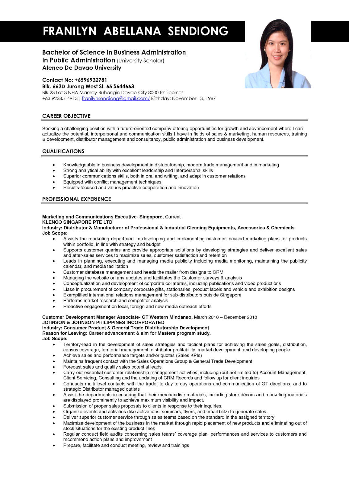 resume format sample for job application
