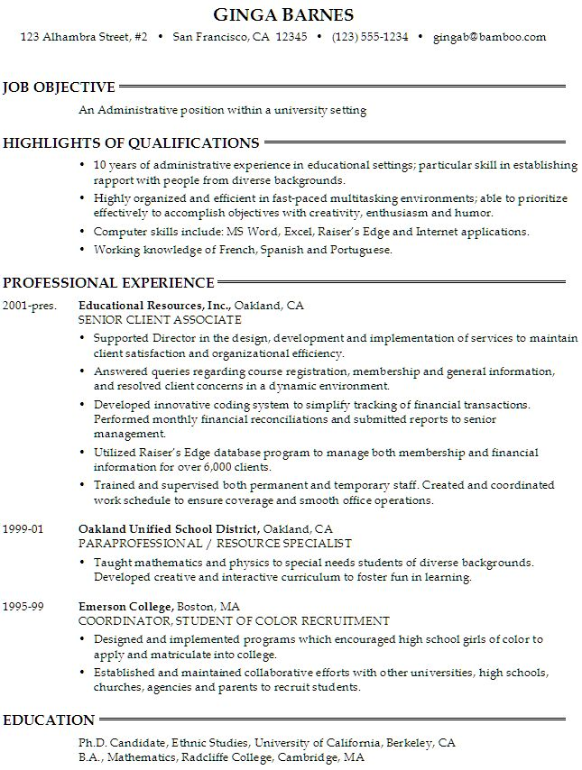 resume template for university application