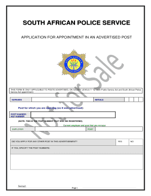 sa police service application form