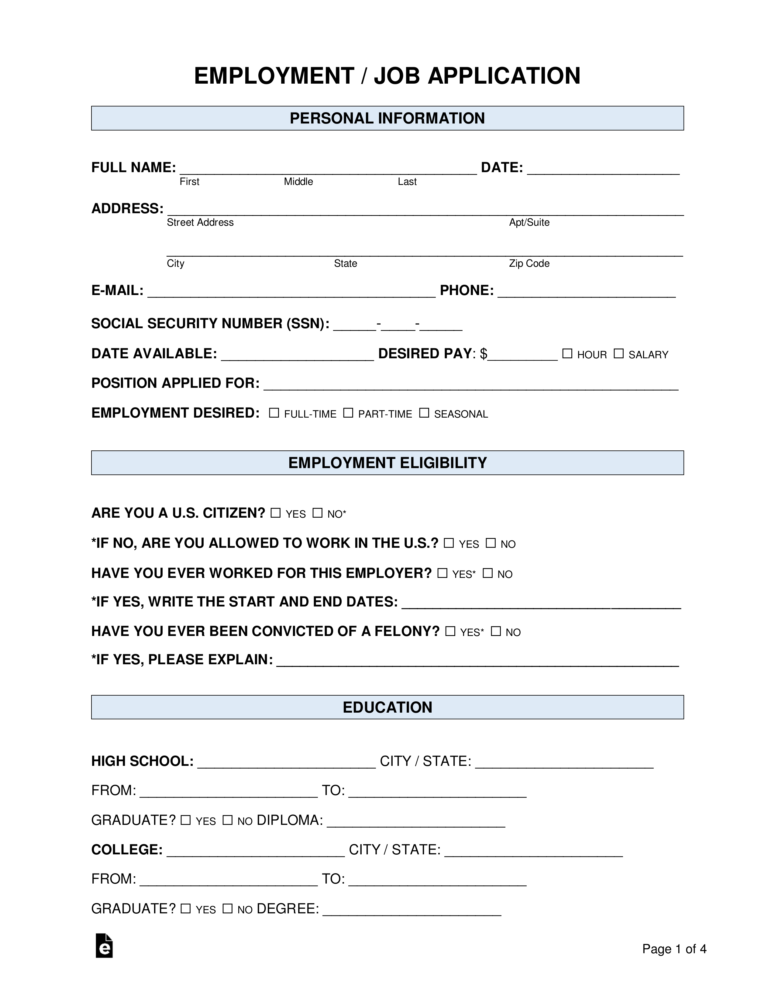 simple job application form pdf