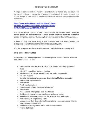 single person council tax discount application form