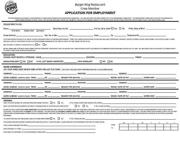 subway job application pdf 2016