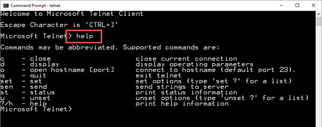 telnet application for windows 7