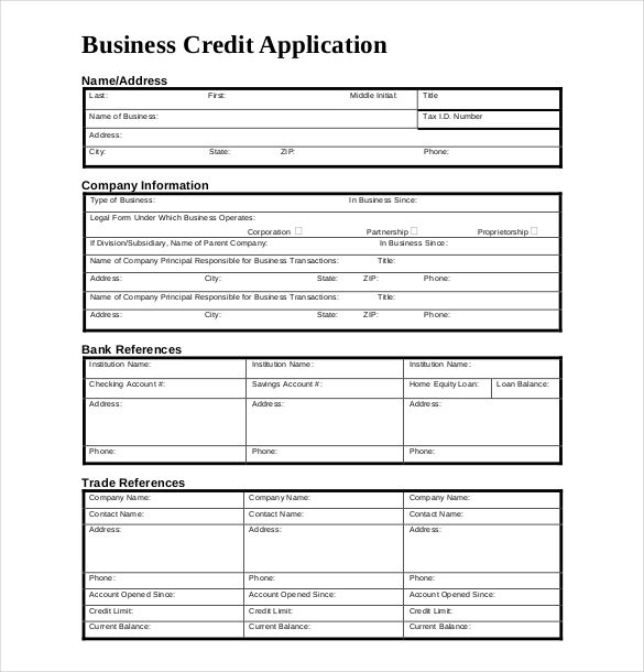 trade credit application form template
