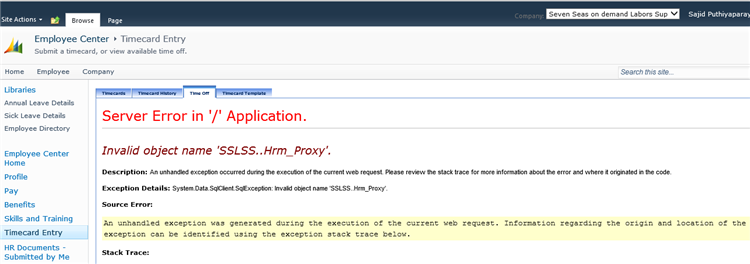 unhandled exception occurred in a component in your application