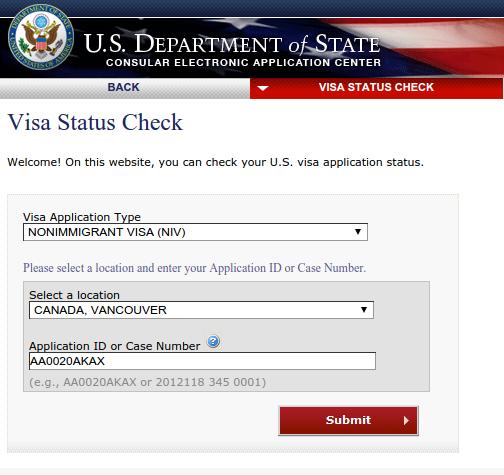 visa application tracking id no