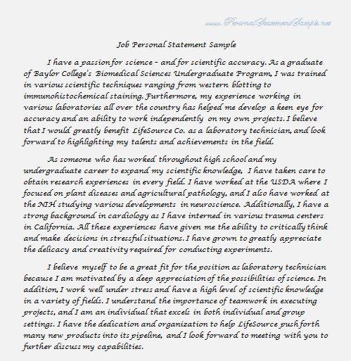 written statement for job application